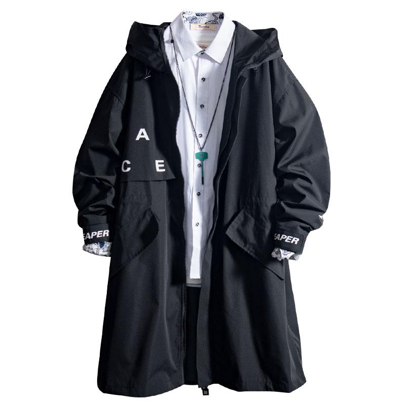 白糖玫瑰19 帅气青年黑色连帽中长款外套男秋冬季潮牌酷风衣夹克