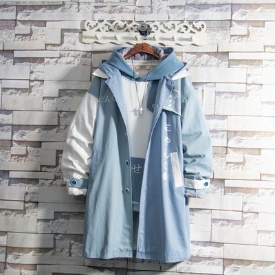 白糖玫瑰/20 蓝色猫咪中长款厚风衣外套男帅气秋冬季加绒潮流ins