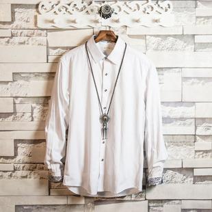 白色修身 男士 大码 白糖玫瑰 春秋季 打底衬衫 正装 新郎伴郎衬衣潮