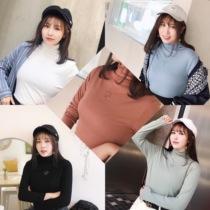 韩版19秋冬新品高领百搭长袖T恤打底衫女修身上衣200斤加大码女装