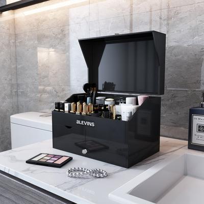 轻奢护肤品化妆品收纳盒带镜子浴室台面亚克力置物架桌面梳妆台