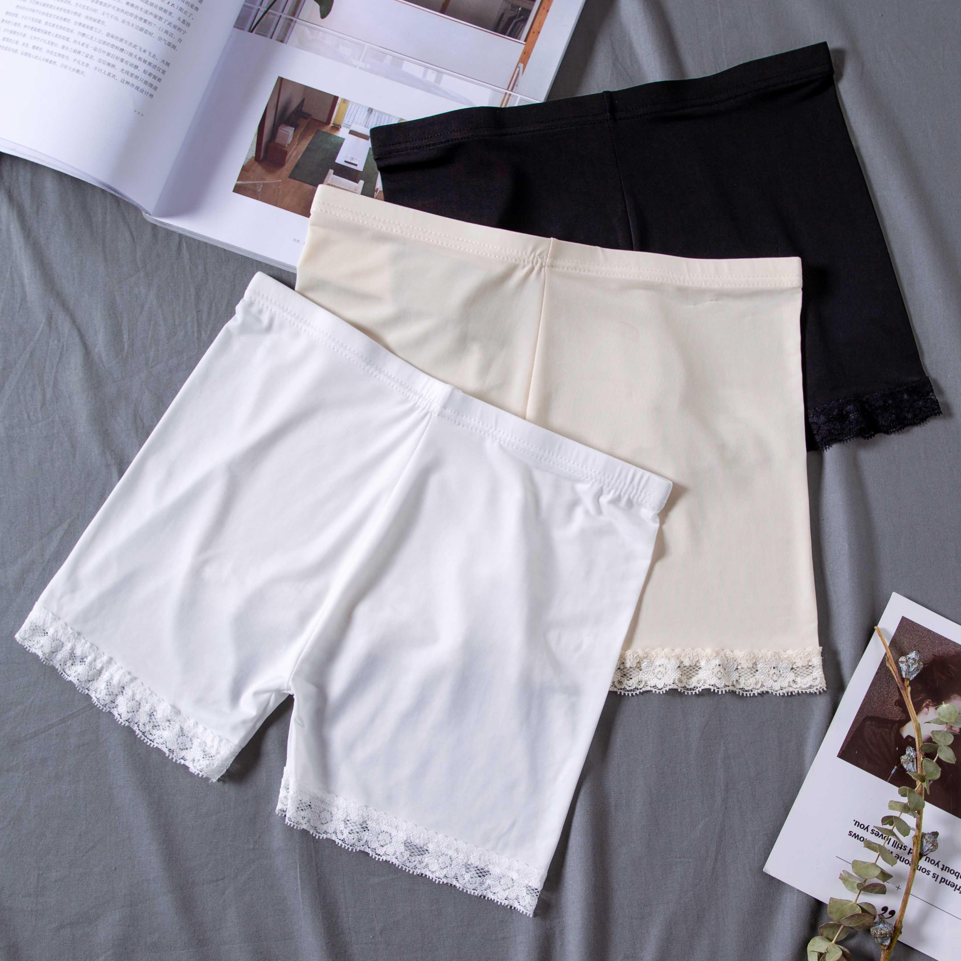 4.60元包邮冰丝无痕白色打底防走光安全裤女夏天薄款保险短裤大码胖mm可外穿