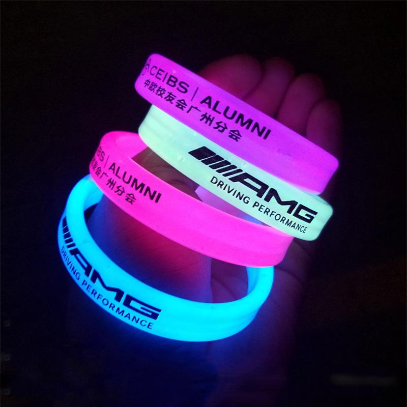 Concert support one-time night running electronic LED light-emitting flash luminous stick wide Bracelet fluorescent Bracelet customization