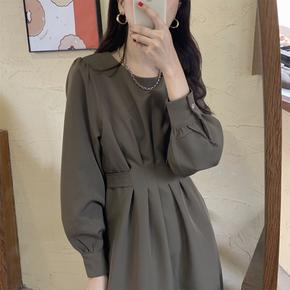 2020新款胖妹妹秋装长袖大码女装胖mm显瘦气质百褶打底中长连衣裙