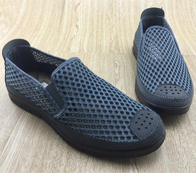老北京布鞋男鞋父亲防滑夏季网面开车软底透气工作一脚蹬懒人网鞋