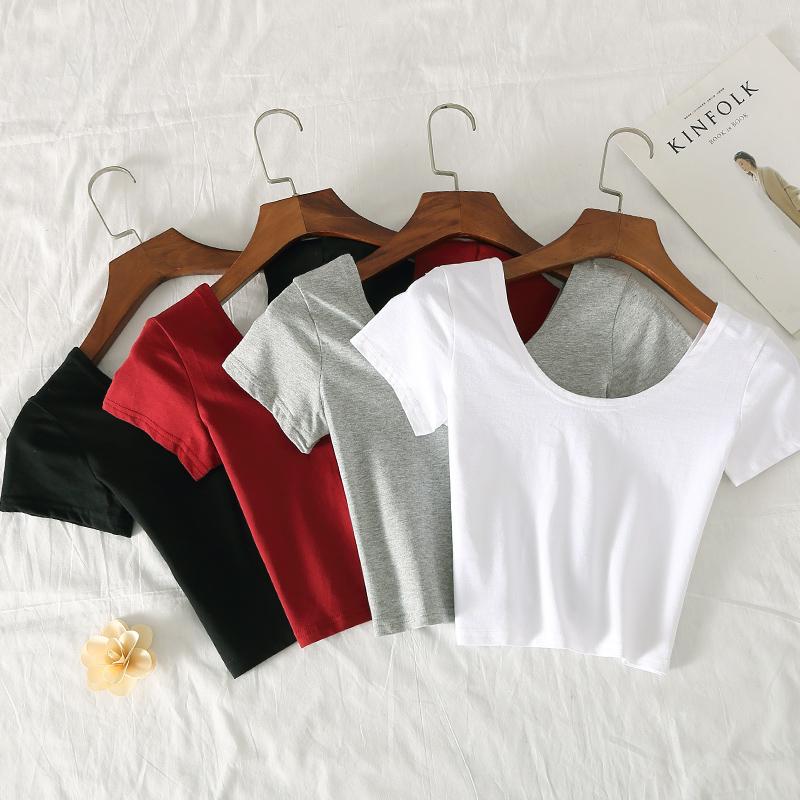2019 summer slim solid color open navel short T-shirt womens short sleeve white base shirt T-shirt womens student top
