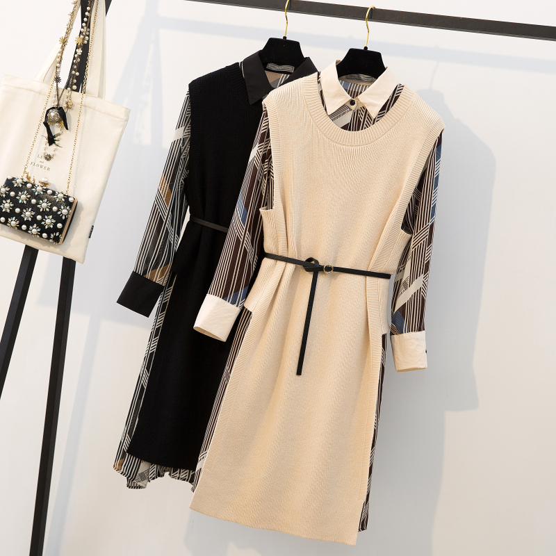 实拍大码女装胖mm2019春季雪纺连衣裙女针织毛衣马甲配裙子两件套