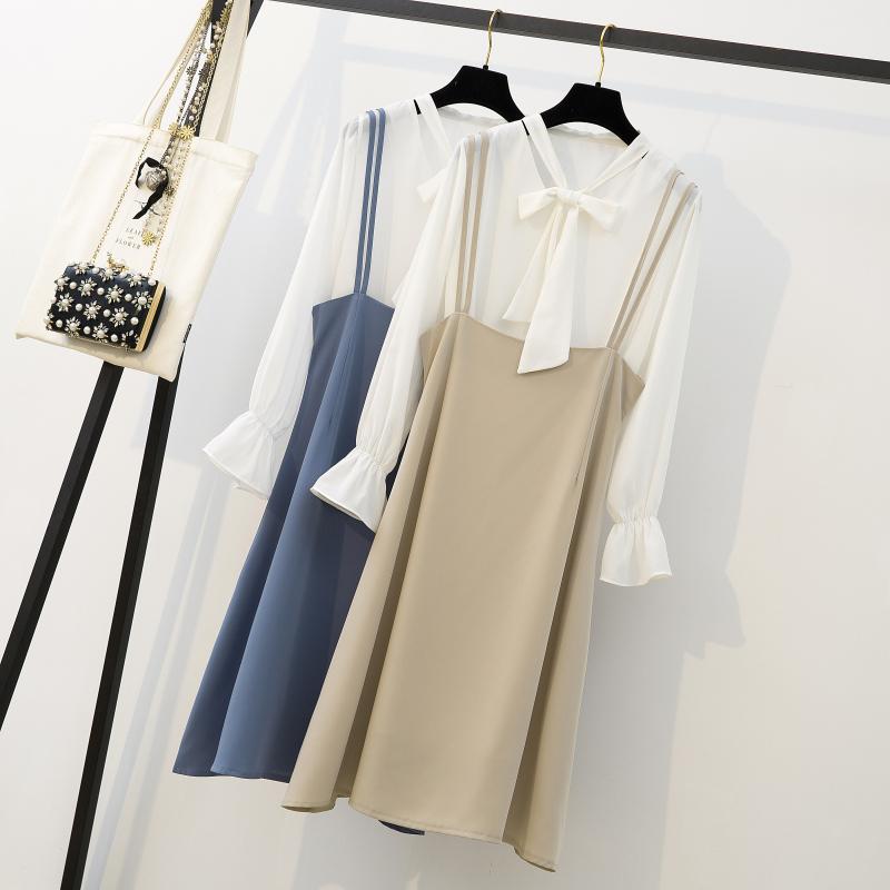 实拍大码女装胖MM2019春季新款套装气质淑女显瘦雪纺衬衫吊带裙子