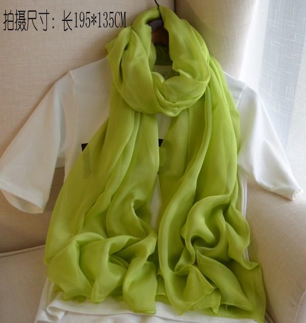 艾上图桑蚕丝百分百真丝果绿丝巾/女围巾/空调房薄披肩超长沙滩巾