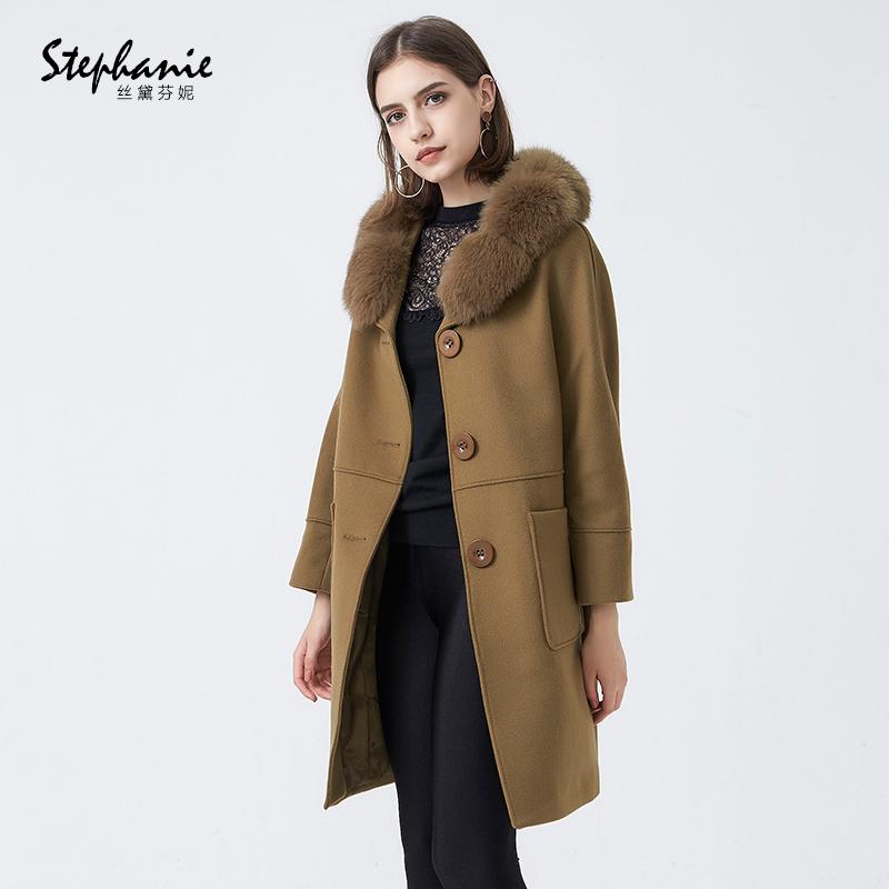 丝黛芬妮2018新款狐狸毛领羊毛呢大衣外套中长款妮子女装