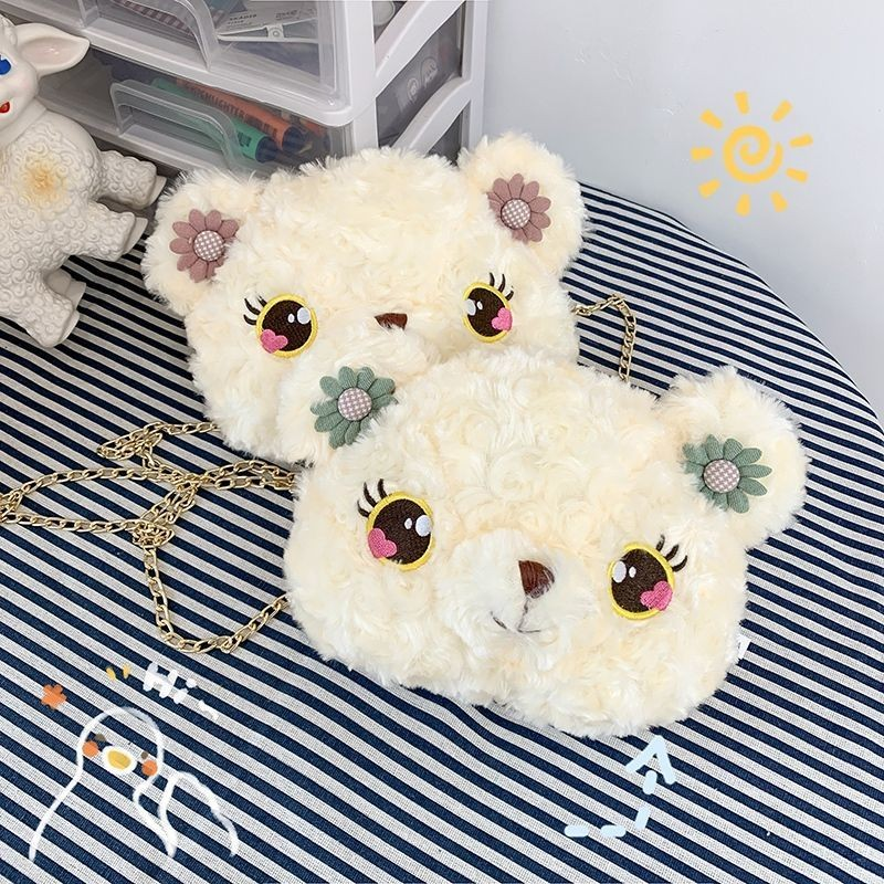 软妹玩偶lolita包毛绒熊头斜挎包女可爱小包包日系毛毛洛丽塔熊包
