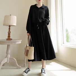 安妮森林【小黑半裙】好穿的针织半身裙显瘦高腰长裙2020夏