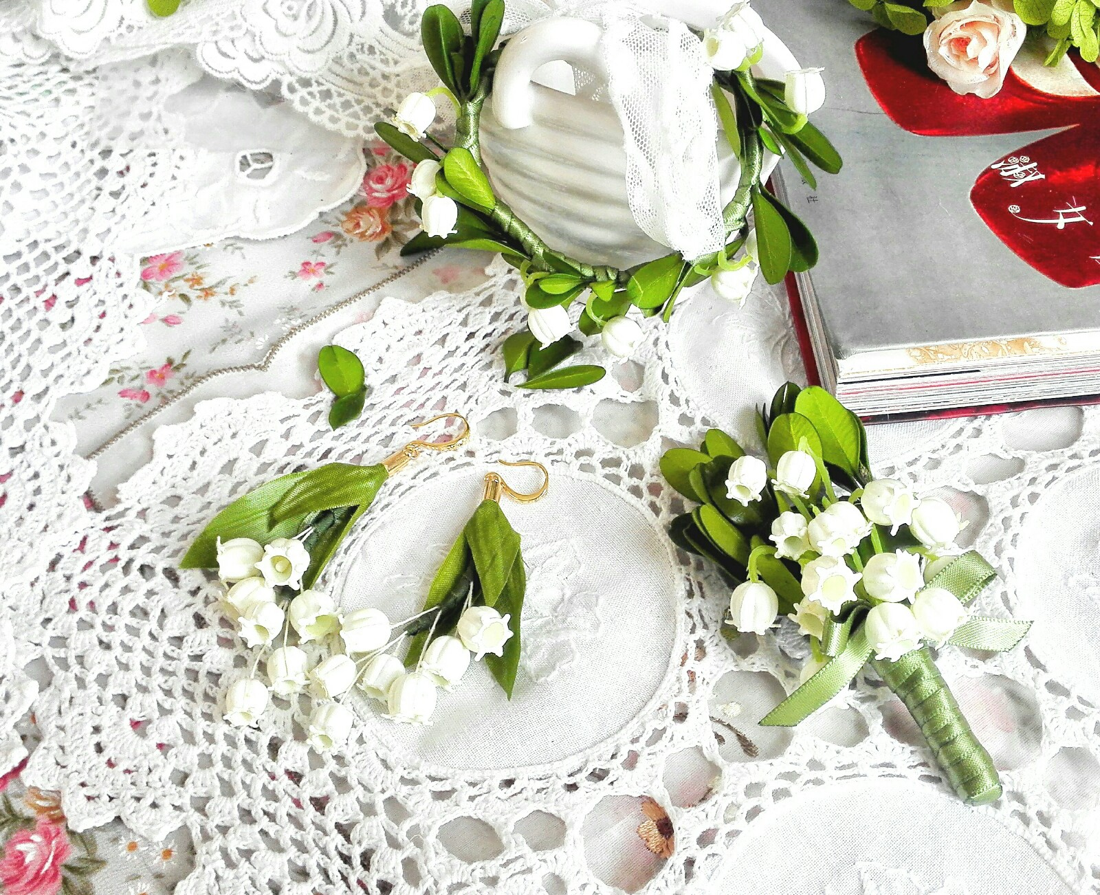 Sweet to the ear - Lily of the valley Wedding Set Earrings and brooch Bracelets