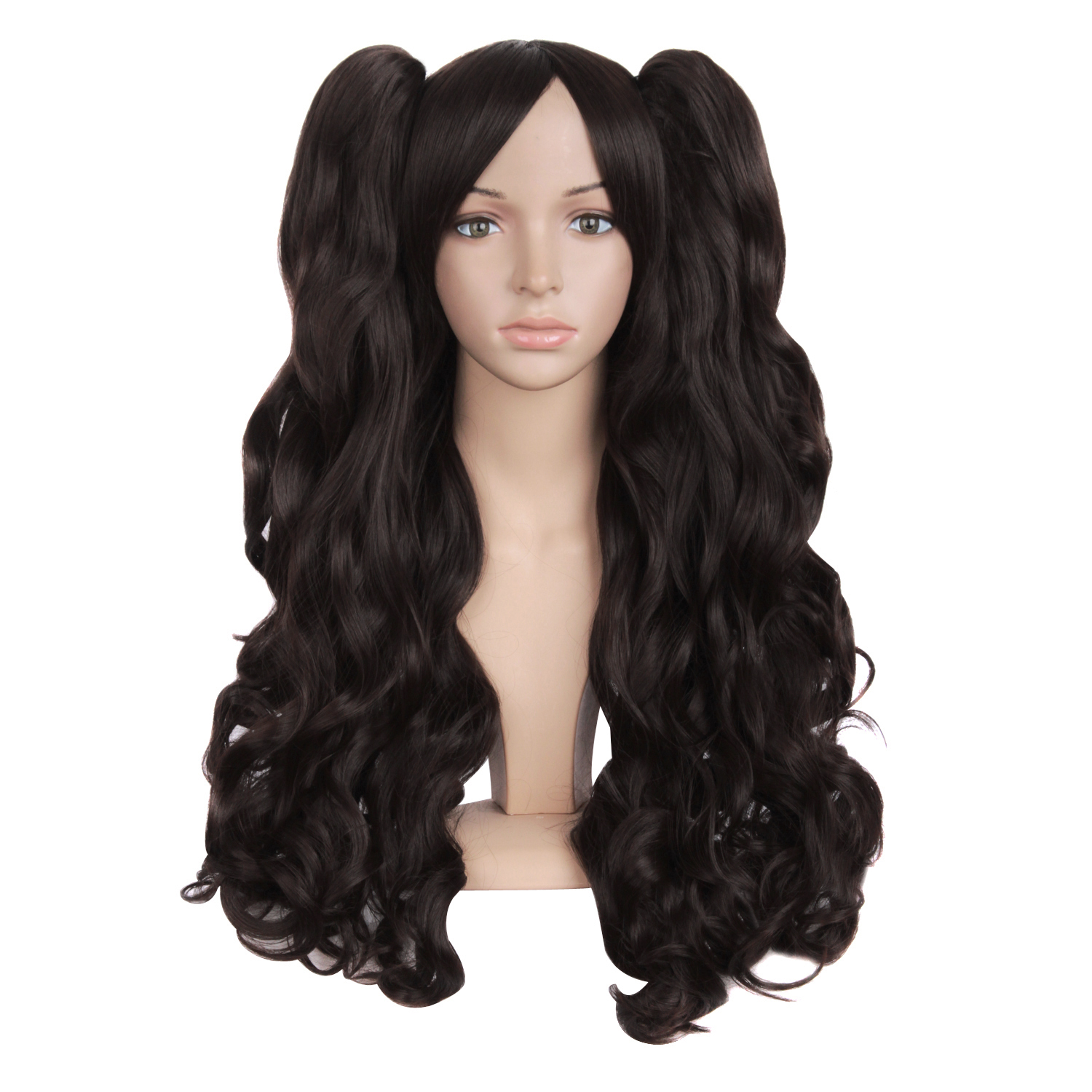 Cos wig long curly wig Lolita little Lolita role play long hair double horsetail wig three piece set