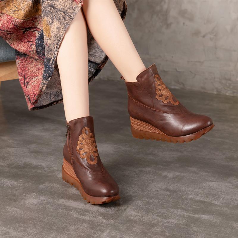 真皮民族风坡跟松糕跟女靴防水台厚底鞋复古手工真皮圆头高跟女靴