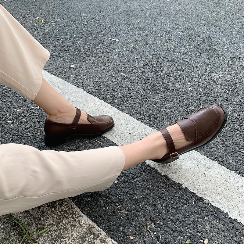 四幕女鞋2019新款秋鞋学院风一字扣玛丽珍鞋女平底单鞋女