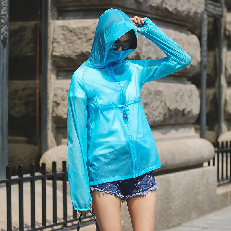 防晒衣女2019夏装新款轻薄连帽中长款防晒服长袖短外套大码沙滩服