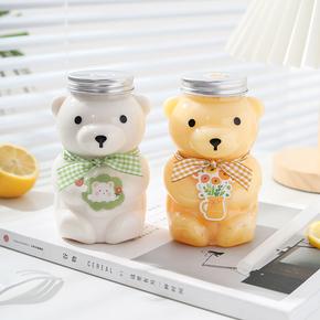 网红小熊奶茶瓶子带盖空瓶塑料饮料瓶外卖打包可爱创意果汁瓶水杯