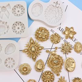 翻糖硅胶模具欧式宝石珠宝花纹巧克力模具diy烘焙蛋糕装饰 滴胶模