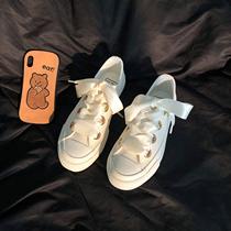 林先叁仙女丝带小白鞋女2021新款女鞋百搭港风设计感小众帆布鞋子