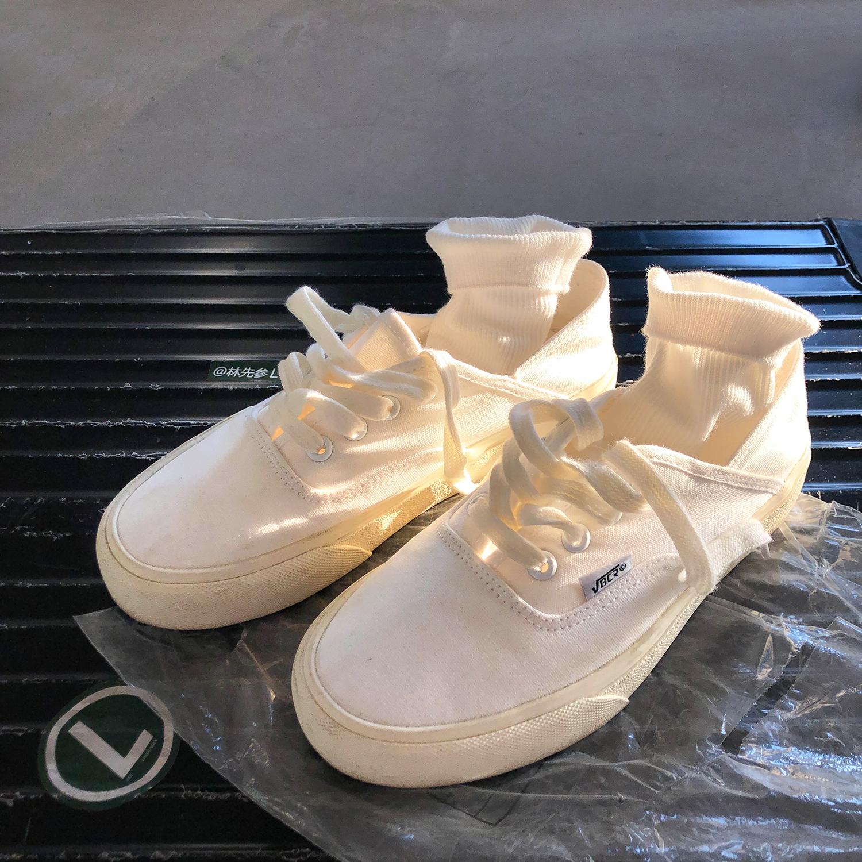 林先参 日系小白鞋女夏季2021新款女鞋ins街拍潮百搭白鞋帆布鞋子
