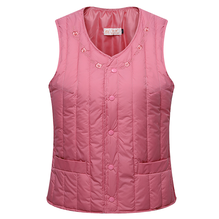 Down cotton vest womens short autumn and winter middle-aged and old peoples inner liner slim waistcoat mothers clothes warm and close to the body