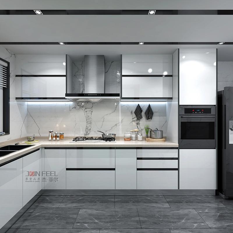 Integrated cabinet, modern simple kitchen, customized nano baking paint glass door, quartz stone table, customized economy