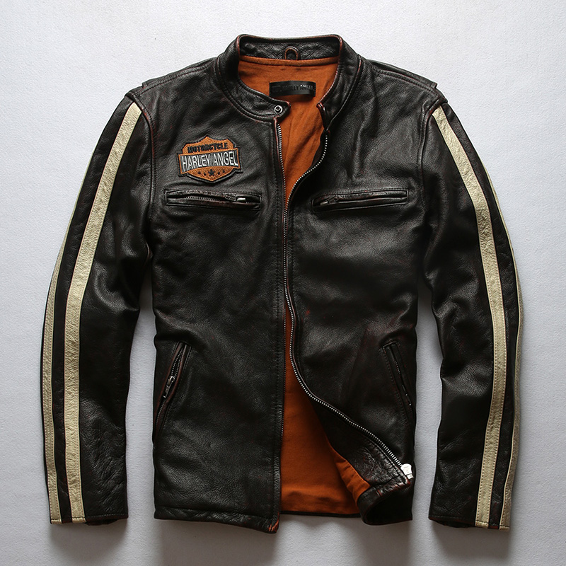 Halley Leather Mens wash worn real leather jacket vertical collar striped leather jacket new mens wear in autumn and winter
