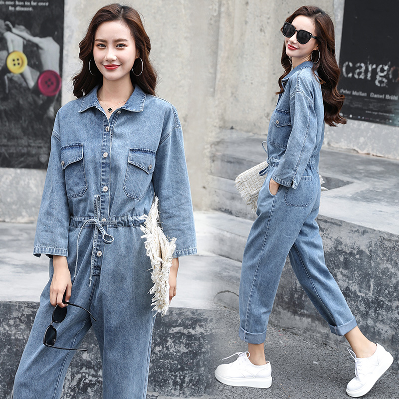 2020 spring fashion trend long sleeve jeans Onesie simple slim youth jeans Onesie women