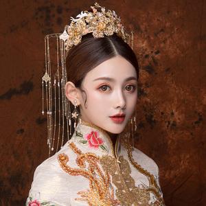 可爱新娘中式古装婚礼古风金色珍珠凤冠长流苏秀气秀禾服头饰套装图片