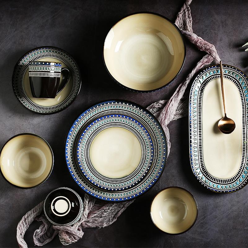 波西米亚餐具套装创意陶瓷大意面盘需要用券