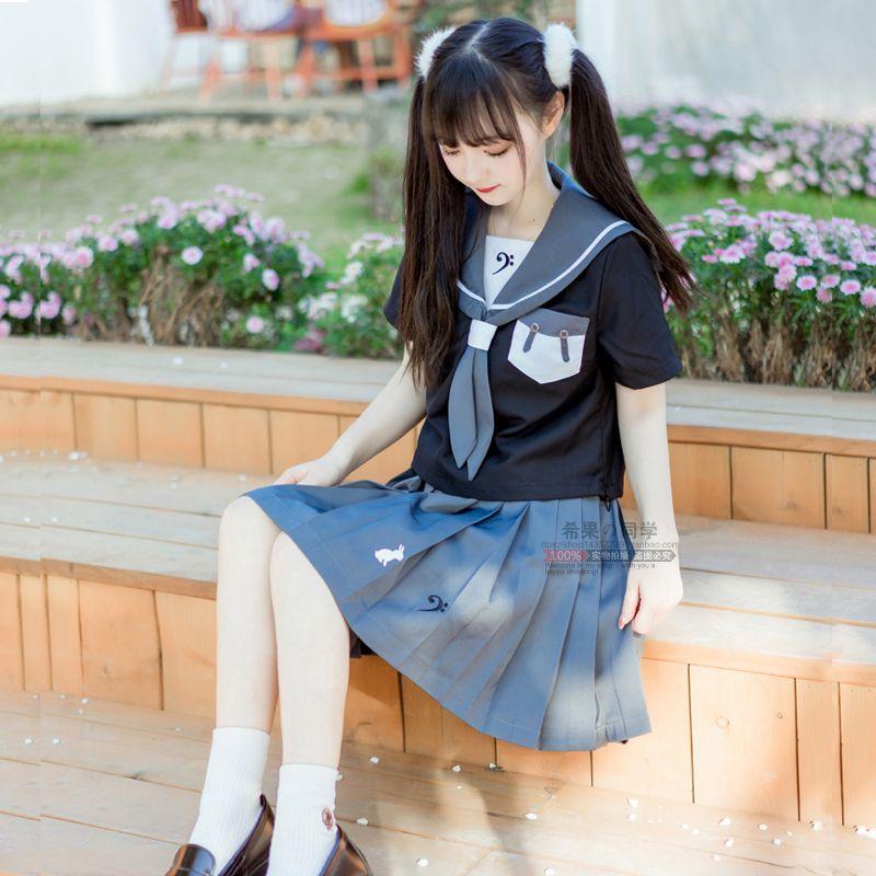 日系低音兔软妹甜美短袖JK制服夏水手服女学生校服班服学院风套装