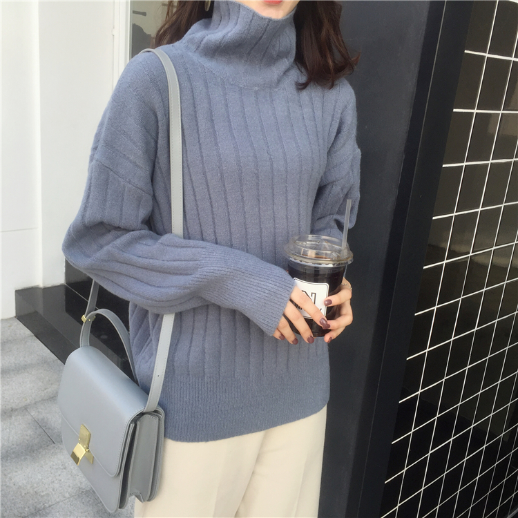 Korean Sze autumn and winter girls heart multi color versatile basic solid high neck thick pit lazy knitting sweater top