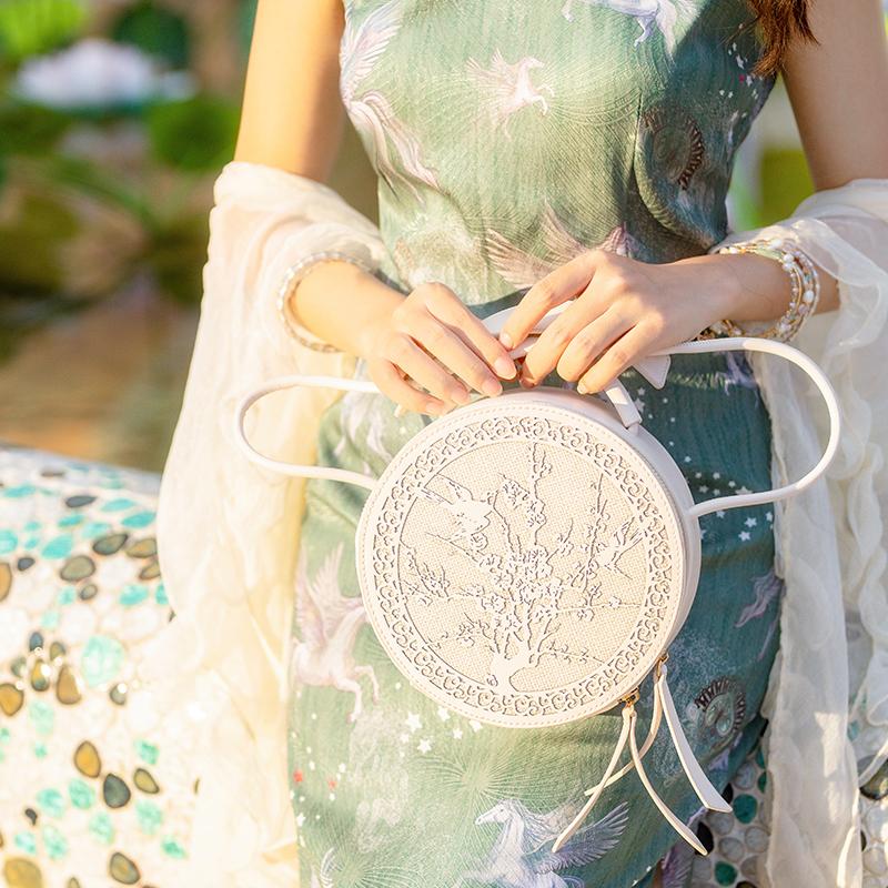 国风汉洋折中汉服旗袍单肩斜跨手提小圆包中华包优雅女包复古时尚