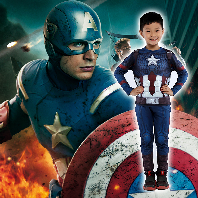 Captain USA childrens wear childrens cos clothes quick dry clothes sportswear Avengers alliance 4 clothes Marvel T-shirt
