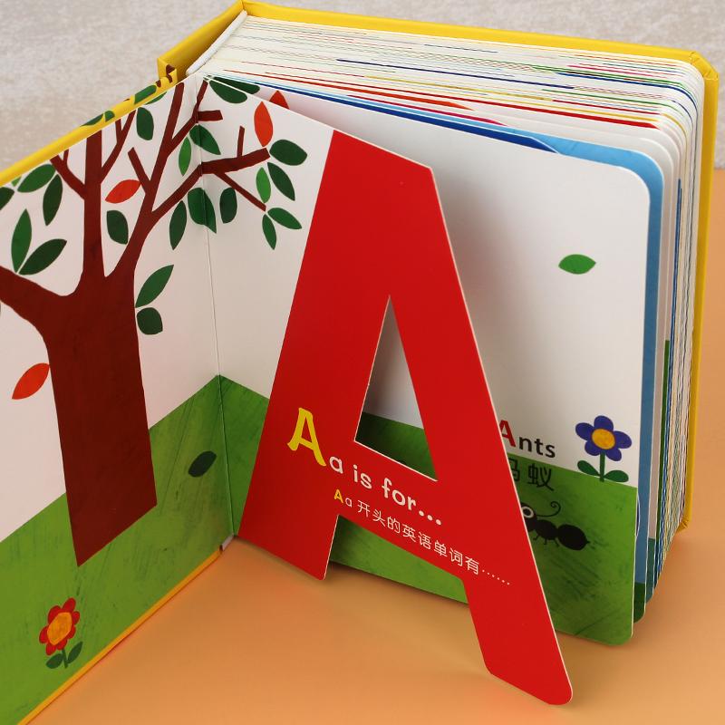邦臣小红花精装硬壳撕不烂有趣的创意学习书神奇字母儿童英文字母卡片2-3-4-5-6岁宝宝英语卡幼儿园教材图画书启蒙认知玩具翻翻书