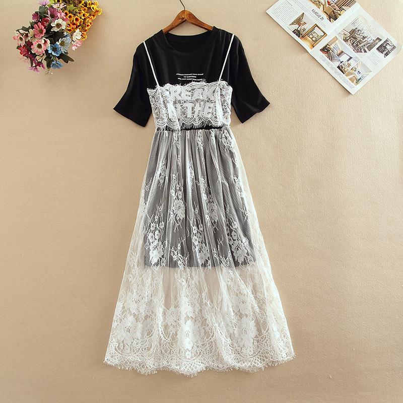 夏很仙的法国小众连衣裙女韩版宽松短袖拼接网纱刺绣假两件连衣裙