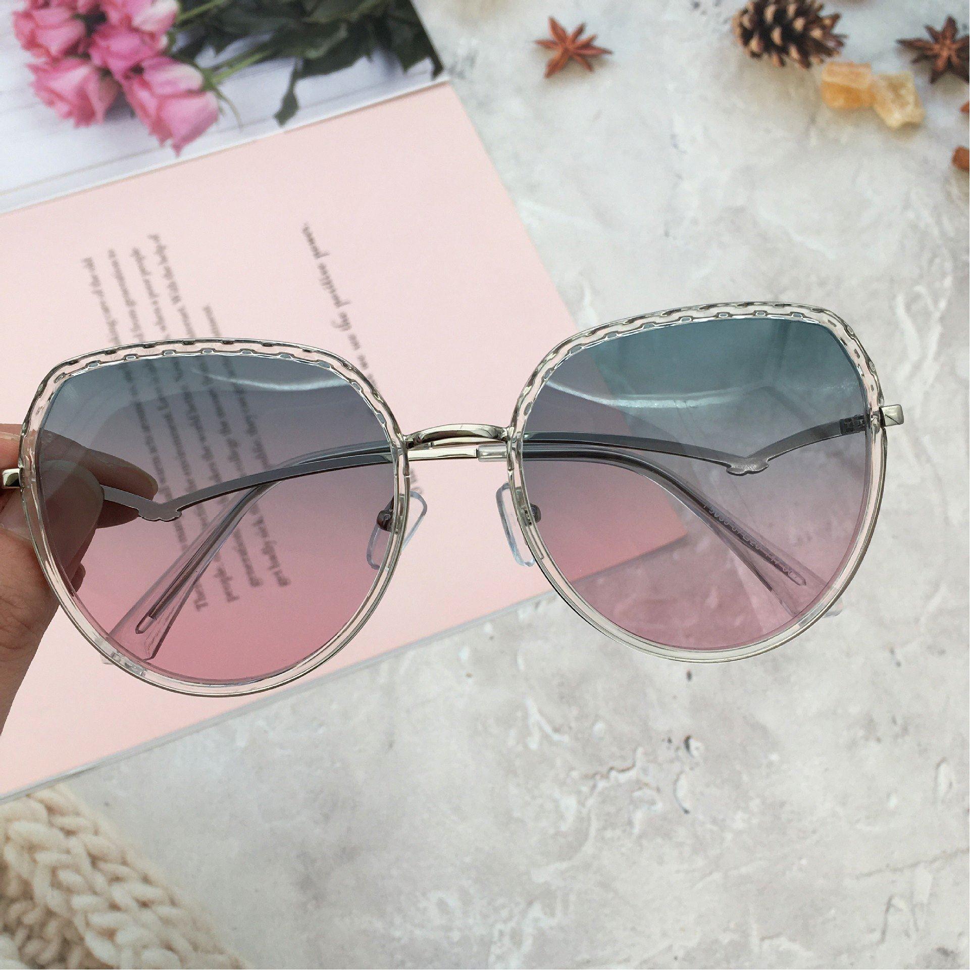 Big frame glasses elegant fashion new fashion polarizing sunglasses female gradient big face transparent Sunglasses female f5025