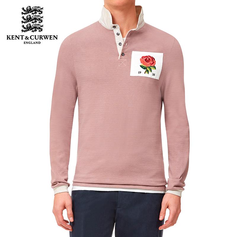 【 бэкхем осень и зима серия 】KENT & амп; Curwen / хочу следовать культура роуз аппликация твердый длинный рукав POLO рубашка