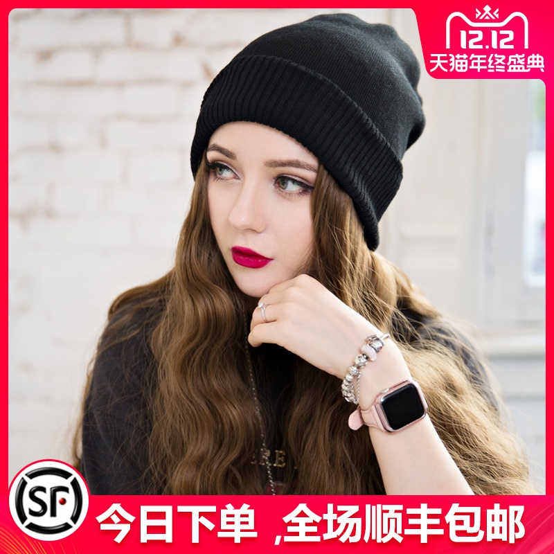 毛线帽子带假发一体女秋冬天款长发水波纹网红时尚长卷发全头套式