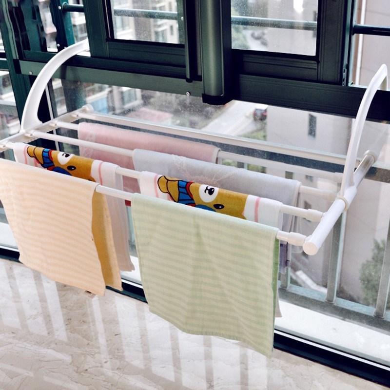 窗外阳台晾衣神器窗台护栏晒鞋凉衣服架子可折叠可伸缩晾衣架无痕