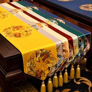 新中式桌旗中国风禅意茶几布家用电视柜床头柜餐桌布艺茶桌旗防滑