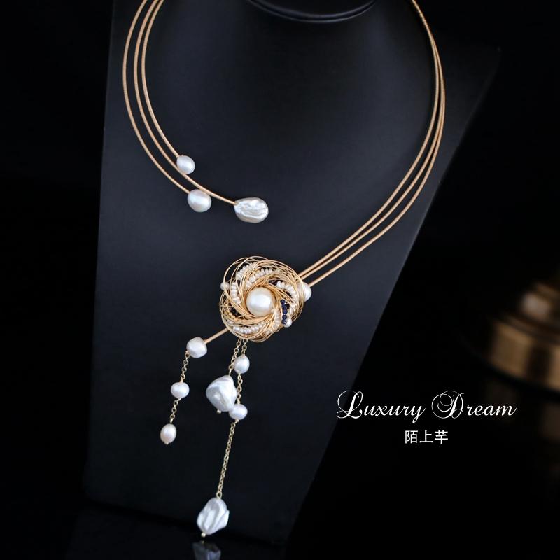 陌上芊珍珠年轻款时尚小众感锁骨链