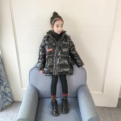 女童羽绒服2019新款中大童冬季韩版洋气黑色中长款亮面儿童外套潮