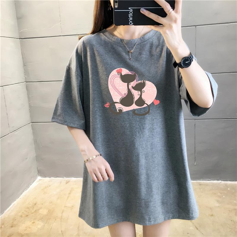 实拍6891#【65/35棉】短袖女加肥加大码胖mm中长款t恤打底衫