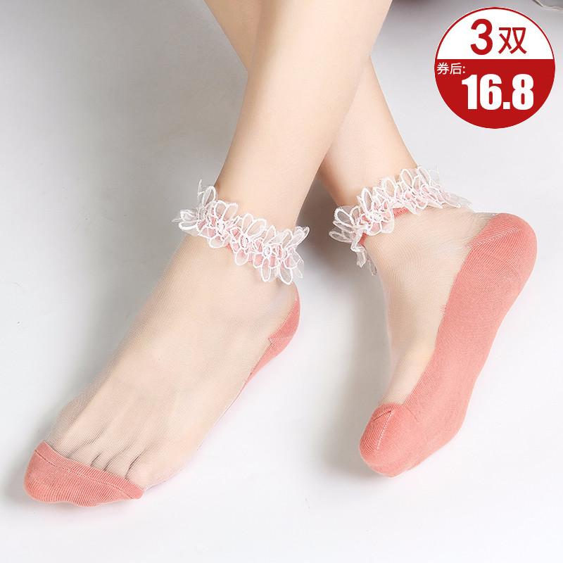 袜子女夏季薄款ins潮仙女网纱蕾丝花边可爱日系水晶短袜浅口春秋