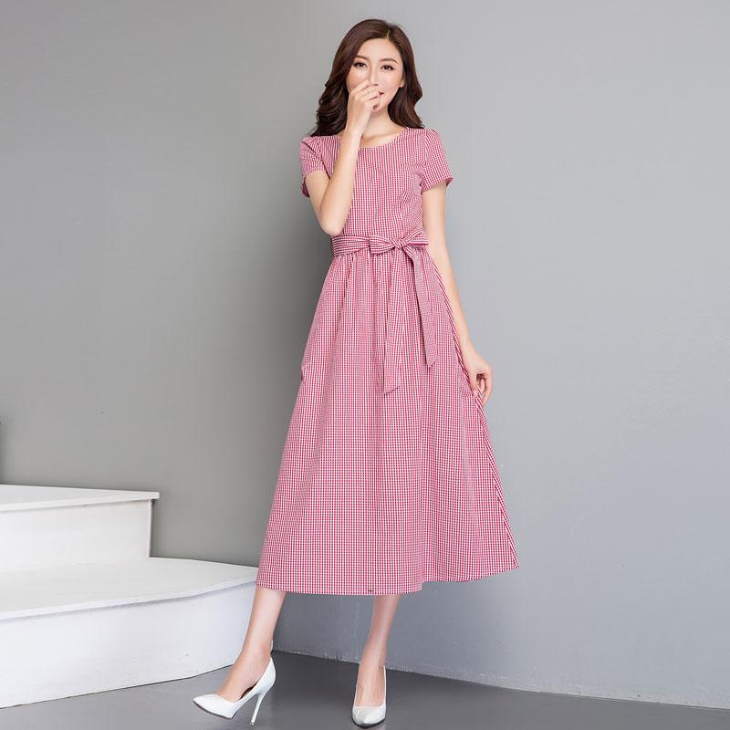 2018夏�b新品女士�棉格子短袖�r尚�B衣裙�L裙�^膝修身加�L款大�a