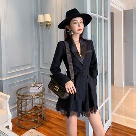 秋装2020新款女装气质御姐西服套装黑色长袖外套小西装连体裤短裤