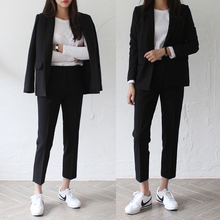 春夏单排扣职业工装两件套女士休闲时尚韩版小西装外套九分裤套装