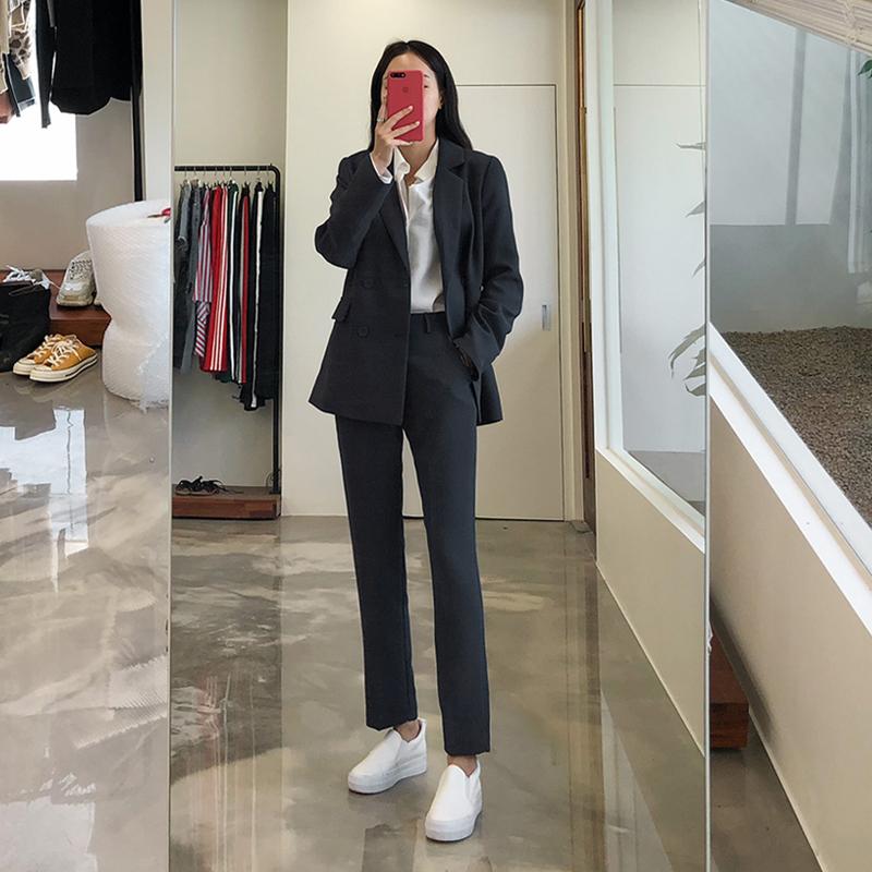 2018秋冬韩版OL职业正装时尚气质修身西服面试工作服小西装套装女